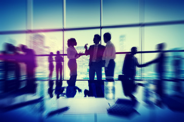 Silhouette People Meeting Cityscape Team Concept