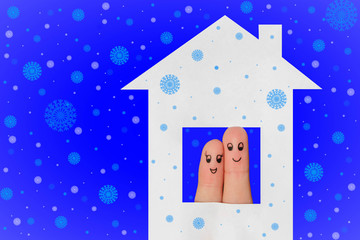 Finger art of a Happy couple looking out of the window