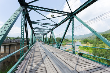 iron bridge at pai river in thailand