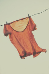 T-shirt to dry on a clothesline