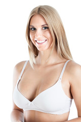 Smiling woman in white brassiere