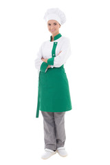 young happy chef woman in uniform - full length isolated on whit