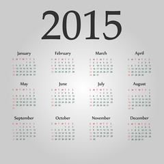 Simple european 2015 year vector calendars