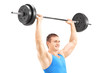 Man lifting a barbell and doing lunges