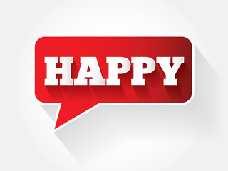 Happy text message bubble, vector background
