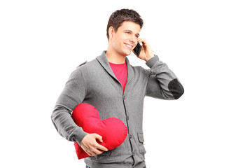 Man having a romantic conversation on the phone