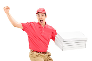 Overjoyed pizza delivery guy