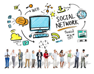 Social Network Social Media Business People Technology Concept