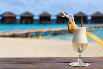 pina colada on tropical beach