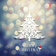 Merry Christmas with Christmas tree and vintage bokeh background