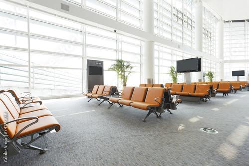 modern airport waiting hall interior - 74123656