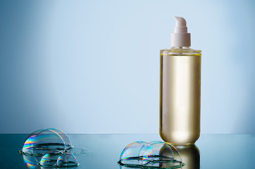 Bottle of liquid soap with bubble