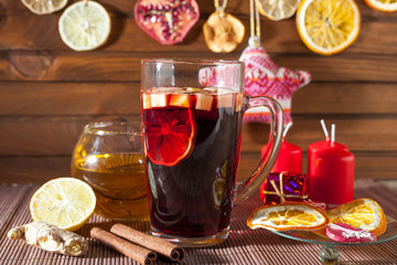 mulled wine and Christmas decorations, candles, gifts
