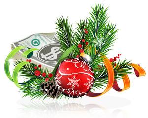 Christmas ball with money