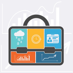 Briefcase with graph clock badge money cloud