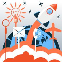 Business start up rocket idea