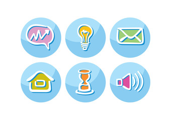 Set of business icons lightbulb megaphone paper