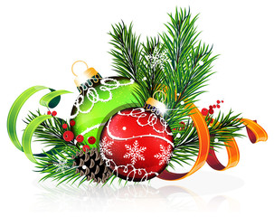 Christmas tree balls with green and orange ribbons