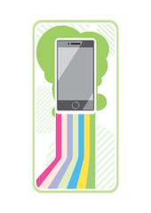 Smartphone on stylish background bands of lines