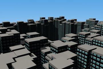 Daken van een metropool