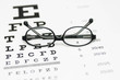 Glasses on eye chart - 74124886