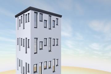 Appartementen flat met wolken lucht als achtergrond