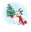 Snowmen on snow background.