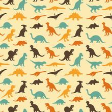 Vektor sadu siluety dinosaurů, retro podtisk