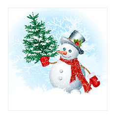Snowmen on snow background.