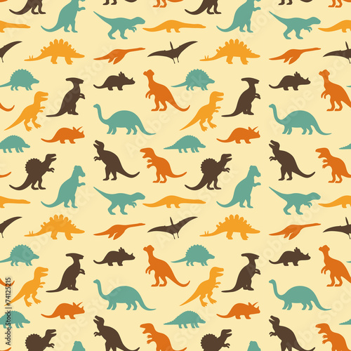 fototapeta na ścianę wektor zestaw sylwetki dinozaurów, retro wzór tła