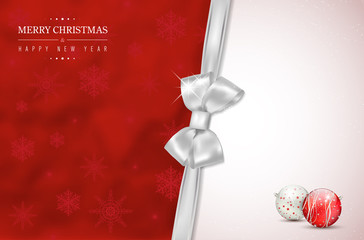 Merry Christmas and Happy New Year card with silver bow