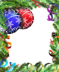 Christmas wreath with red and blue baubles
