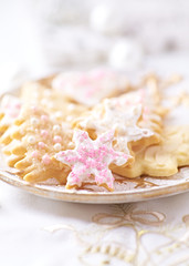 Christmas cookies with icing and sugar pearls