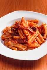 macaroni dish with sausage