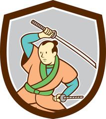 Samurai Warrior Katana Sword Shield Cartoon