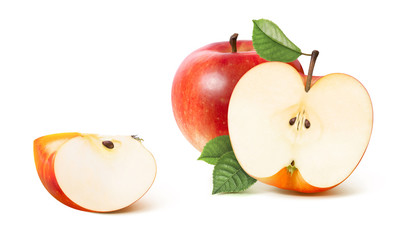 Red apple half and distant quarter isolated on white