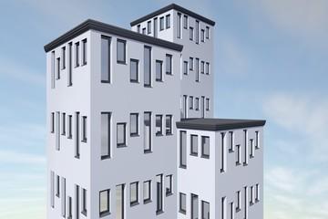 Drie hoge appartementen gebouwen