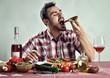 Crazy hungry man eating pizza - 74126485