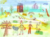 Fototapety Children's watercolor street