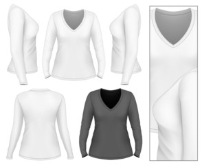 Women's v-neck long sleeve t-shirt
