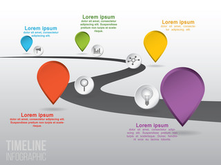 Timeline infographic with vector icons