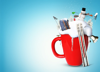 Christmas red Cup with snow, skiing and snowman