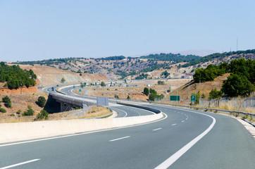 amazing highway S curve road wide shot