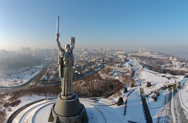 aerial view of Monument Motherland in Kiev, Ukraine