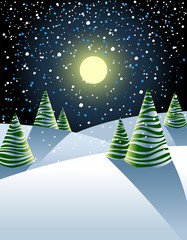 Illustration of winter landscape with fancy fir-trees