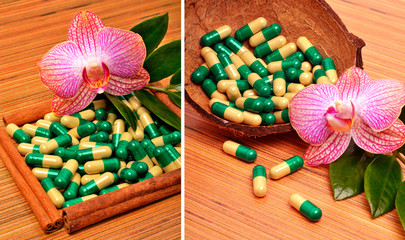 Coconut shell, capsules, tablets, an orchid flower