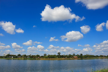 clouds in blue sky over on park