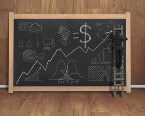 businessman drawing business concept doodles on black chalkboard