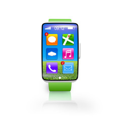 bright green watchband curved screen smartwatch with icons set
