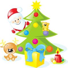 christmas design with santa claus, xmas tree